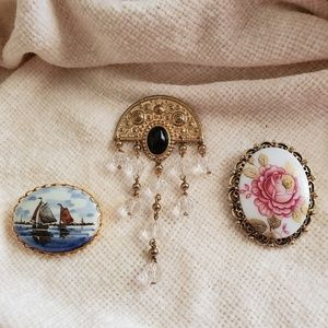 Trio of Victorian-inspired Brooches